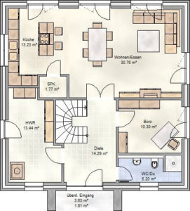 Smart Home Paket-Grundriss: Erdgeschoss.