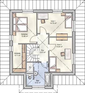 Smart Home Paket-Grundriss: Obergeschoss.